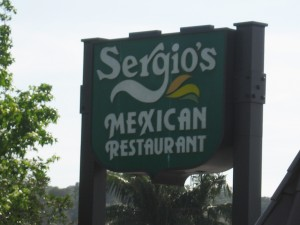 Sergio's Mexican Restaurant Sign